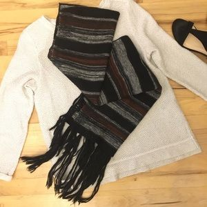 2/$20💐 Burgundy+Black+Gray Scarf with Tassels 🧣